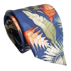 Tommy Bahama Mens Hawaiian Print Silk Tie Blue